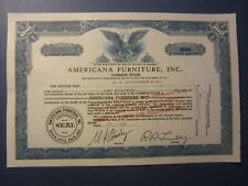 Old 1952 - AMERICANA FURNITURE INC. - Stock Certificate - North Little Rock ARK.