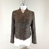 Ann Taylor L 10 12 P Tweed Blazer Moto Zip Jacket Coral black Career EUC