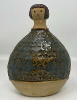 UCTCI MCM Girl In Patterned Dress Vessel vase Japan Clay Pottery 5 1/4