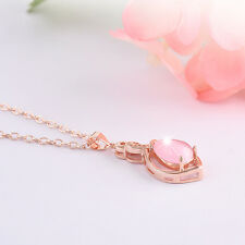 Rose Gold Chain Women's Pink Opal Crystal Pendant Necklace Charming Jewelry