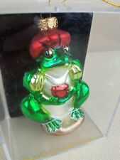 Frog Prince Hand Crafted Painted Glass Ornament Heart Green NIB New