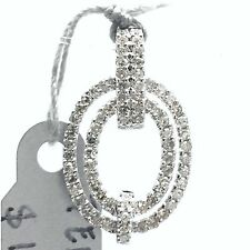 14k White Gold Double Layer Oval Natural Diamond Pendant