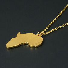 CH Africa Map Jewelry Yellow Gold Plated Necklace African Country Pendant Chain