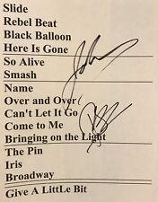 Goo Goo Dolls Signed Setlist Johnny Reznik Autographed Setlist + Robby Takac