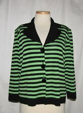 Misook Black & Parakeet Green Striped Acrylic Knit Button Front Blazer Jkt Large