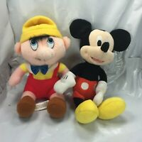 lot of 2 Disney plush Mickey mouse plush animal and Pinocchio bean character FS