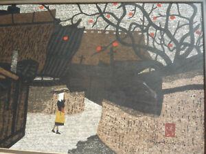 "KIYOSHI SAITO SIGNED 1960S JAPANESE WOODBLOCK PRINT ""PERSIMMON LINED STREET"" RAR"