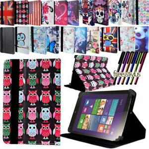 """Leather Tablet Stand Folio Cover Case For Various 7"""" 8"""" 10"""" Lenovo Tab + Stylus"""