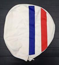 """Spare wheel cover 10"""" white French stripe for Vespa LML & Lambretta"""