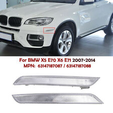 Clear Front Bumper Side Marker Reflector Light For BMW X6 E71 E72 2007-2014 Set