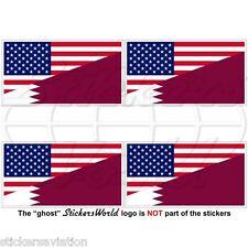 USA United States America-QATAR American & Qatari Flag 50mm Stickers Decals x4
