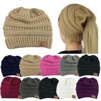 Women Beanietail Messy Bun Ponytail Knitted Beanie Skull Fur Padded Hat Lot