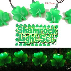 Green Shamrock Light String - St. Patricks Day Party Lights Decoration - Plug IN