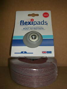 115mm Angle Grinder Backing Pad and 25 x 120 Grit Fine Red Fibre Sanding Discs