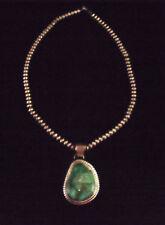 Turquoise Pendant on Sterling Beads - Navajo Handmade