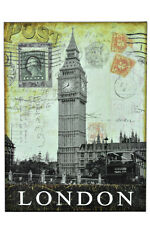 "Vintage Postcard Stamps 16"" London England UK Card Metal Wall Sign Plaque Decor"