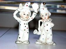 Beautiful Vintage Porcelain Clown Musician Figurine Pair
