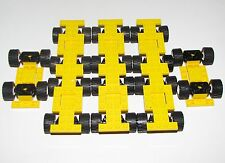 LEGO LOT OF 8 YELLOW CARS VEHICLES WITH TREADED WHEEL TRUCK PARTS PIECES