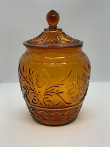 Apothecary Jar Deep Amber Gold Depression Glass Canister 25cm Tall