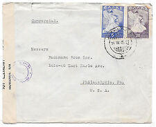 Greece Censored Cover Wwii Athens to Us 1945 Greek Censor Tape 1542 Sc 461 463
