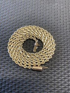 """14K Solid Yellow Gold Twisted Rope Necklace Chain 24"""" Long 15.55 Grams Not Scrap"""