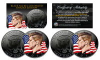 BLACK NICKEL Colorized ENIGMA Edition 2015 JFK Half Dollar 2-Coin Set  P&D Mints