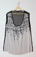 CITY CHIC Grey Black Print Glass Gems Sheer Back Blouse Size XS Size 14