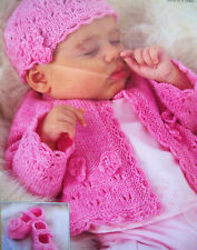 """Baby Girls Lace edge Cardigan Beanie Hat Shoes KNITTING PATTERN 4 ply 16 - 26"""""""