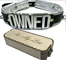 Lockable leather collar Owned or any word W/ custom engraved wood gift box