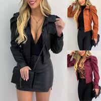 ❤️ Women's PU Leather Puff Sleeve Coat Ladies Zip Up Cropped Jackets Blazer Tops