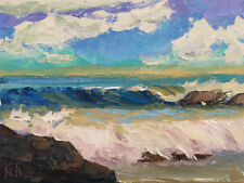 SHORE ROLL Original Expression Seascape Painting Pacific Ocean 12x16 080517 KEN