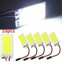 10X White COB Led Panel Dome Light Interior Lamp 12V T10 Festoon Adapters Sets