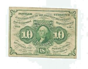 US 10 cent fractional currency postage from 1862, George Washington E.F.