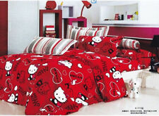 red black hello kitty Cotton queen Size Duvet quilt Cover bed Set sheet cat 4pcs