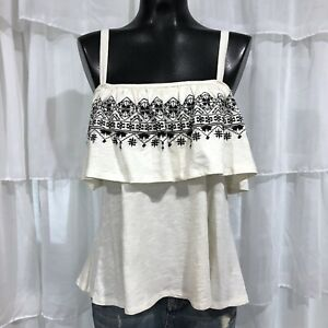 Small Womans NWT SANCTUARY Embroidered Ivory Cami Tank Top Boho Hippie