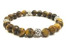 Handmade Mens 8mm TIGER EYE & .925 Tibetan Bali Silver Gemstone Bead Bracelet