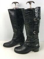 WOMENS PAVERS UK 5 EU38 BLACK PATENT LEATHER MOC CROC BLOCK HEEL KNEE HIGH BOOTS