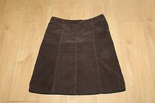 Brown Corduroy H & M Zip Knee A-Line Straight Casual Skirt Size 14 / 42 L 23