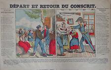 Rare Vintage Imagerie Epinal Pellerin print/Départ et Retour du ConscritINV2299B
