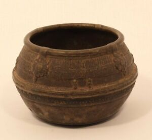 Antique Dhokra bowl from Orissa lost wax cast rice measure