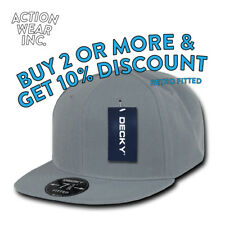 DECKY RP1 MEN'S FITTED HAT CASUAL RETRO FLAT BILL HATS PLAIN BASEBALL CAP CAPS