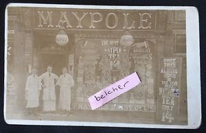 c1908 Bolton Maypole Dairy Shop Front & Staff 224 Chorley Old Rd RP Postcard