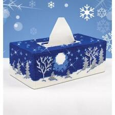 Mary Maxim PLASTIC CANVAS KIT Tissue Box Cover 7 Count STARRY NIGHT Winter