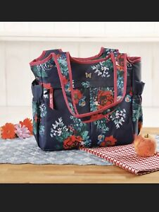 New The Pioneer Woman COUNTRY GARDEN Blue Floral LUNCH TOTE Bag