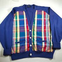 Vintage Polo Ralph Lauren Blue V-neck Cardigan Sweater with Plaid Front Large L