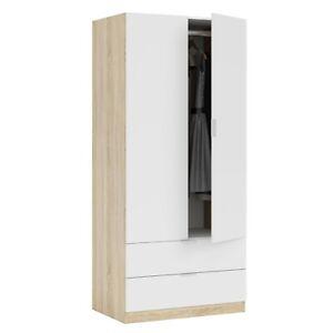 Armario dos puertas, armario dos cajones,  color Roble Canadian y Blanco Artik