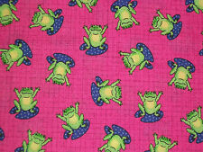 Frogs and Lily Pads on Pink Plaid ~Oakhurst  36 X 44 and 18 X 44   1 1/2 yds   Z