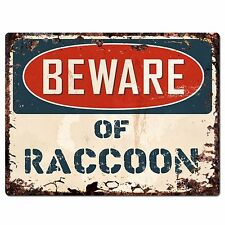 PP1329 Beware of RACCOON Plate Rustic Chic Sign Home Room Store Decor Gift