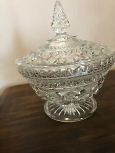 """Vintage Clear Footed Cut Glass Candy Dish With Lid 9"""" round"""