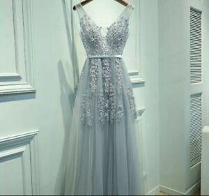 Grace Karin Tulle Long Grey Silver Mesh Dress Lace Open Back V Neck Size M
